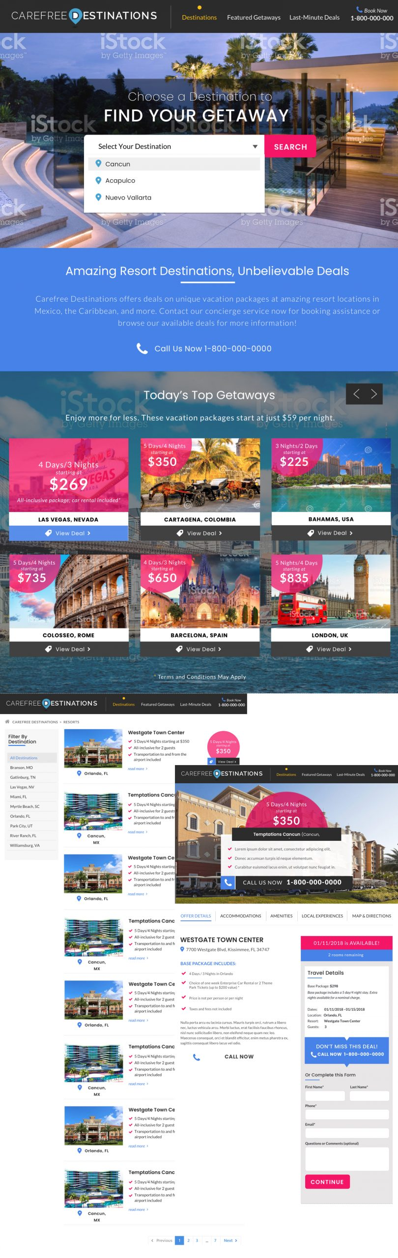 Carefree Destinations Booking Website