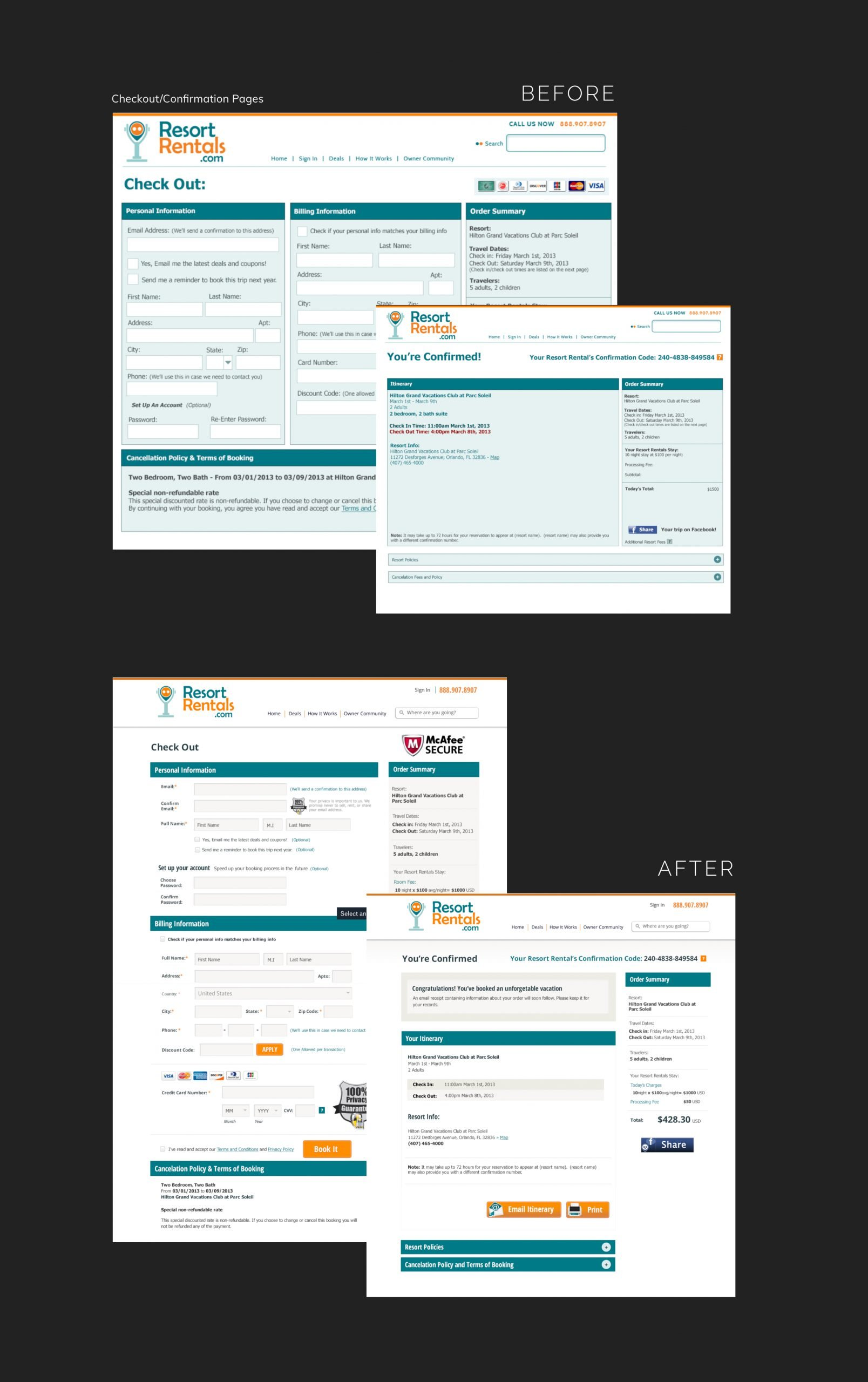 Travel Booking site cart and checkout pages