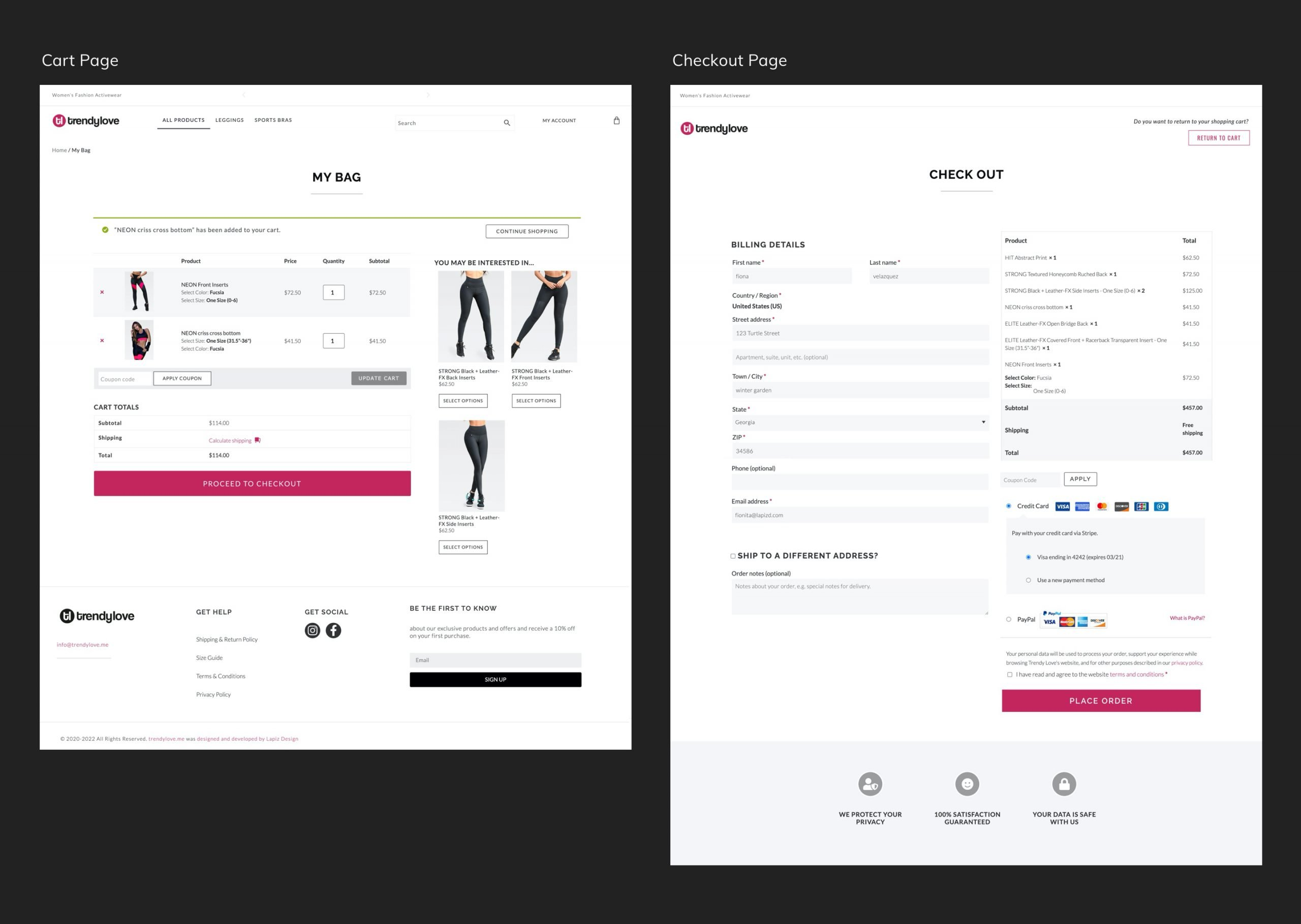 Retail Store Checkout Pages