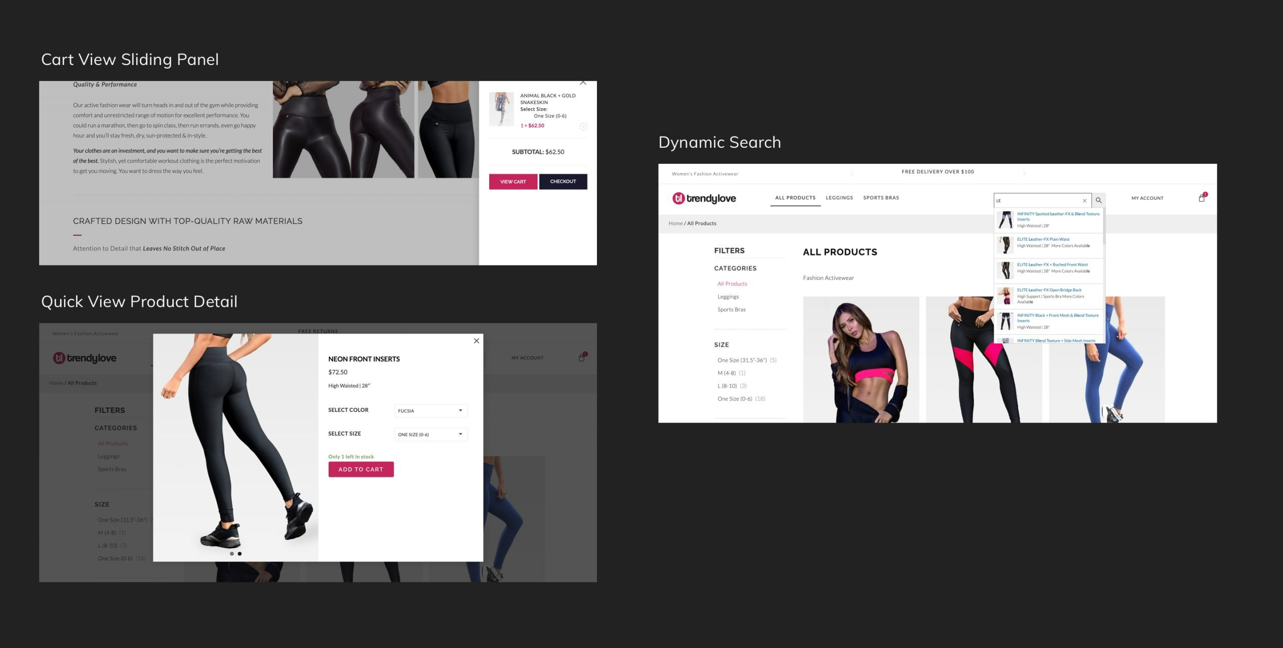 Retail Shopping Cart Search and Product Detail