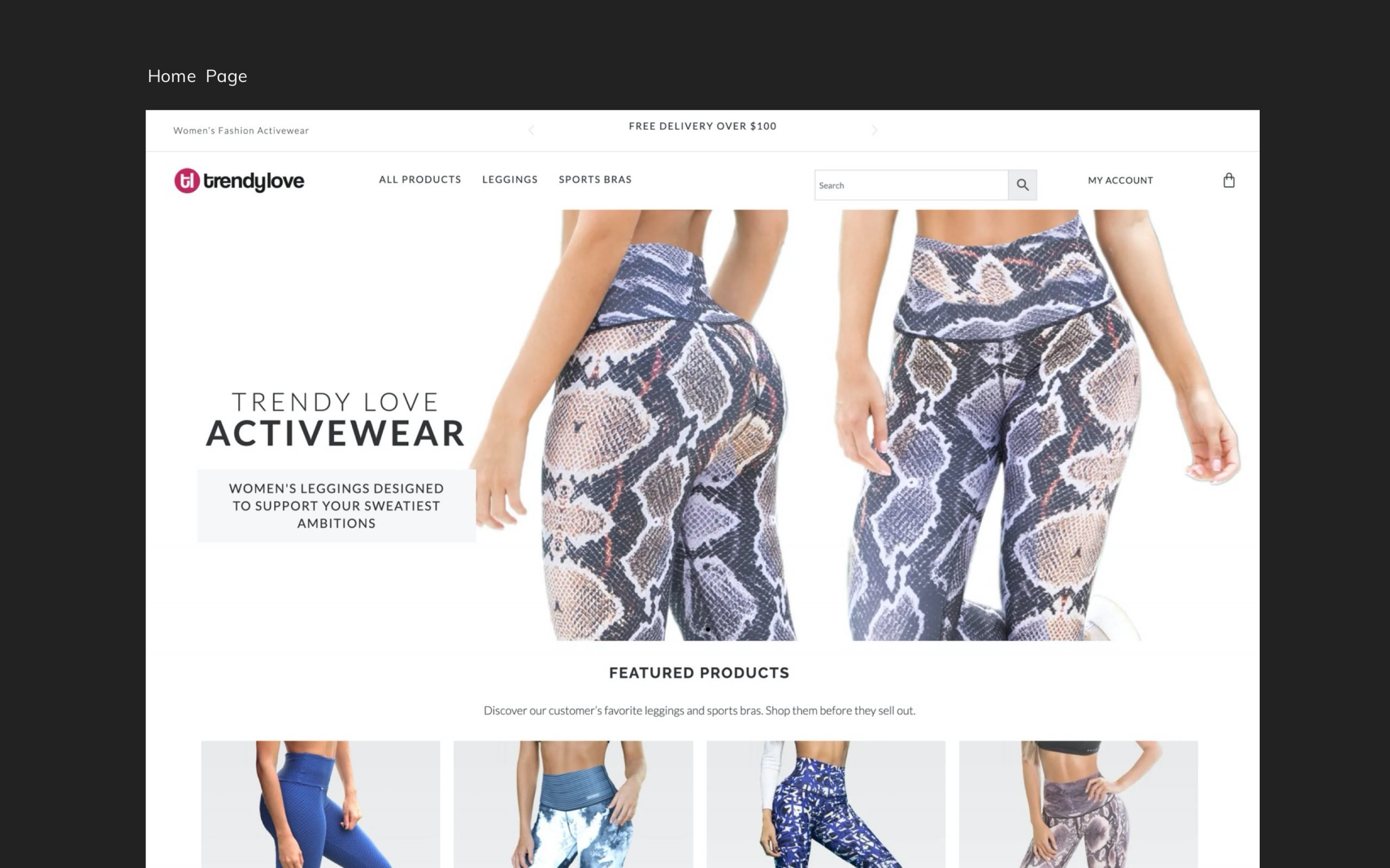 Retail Store Home Page Design