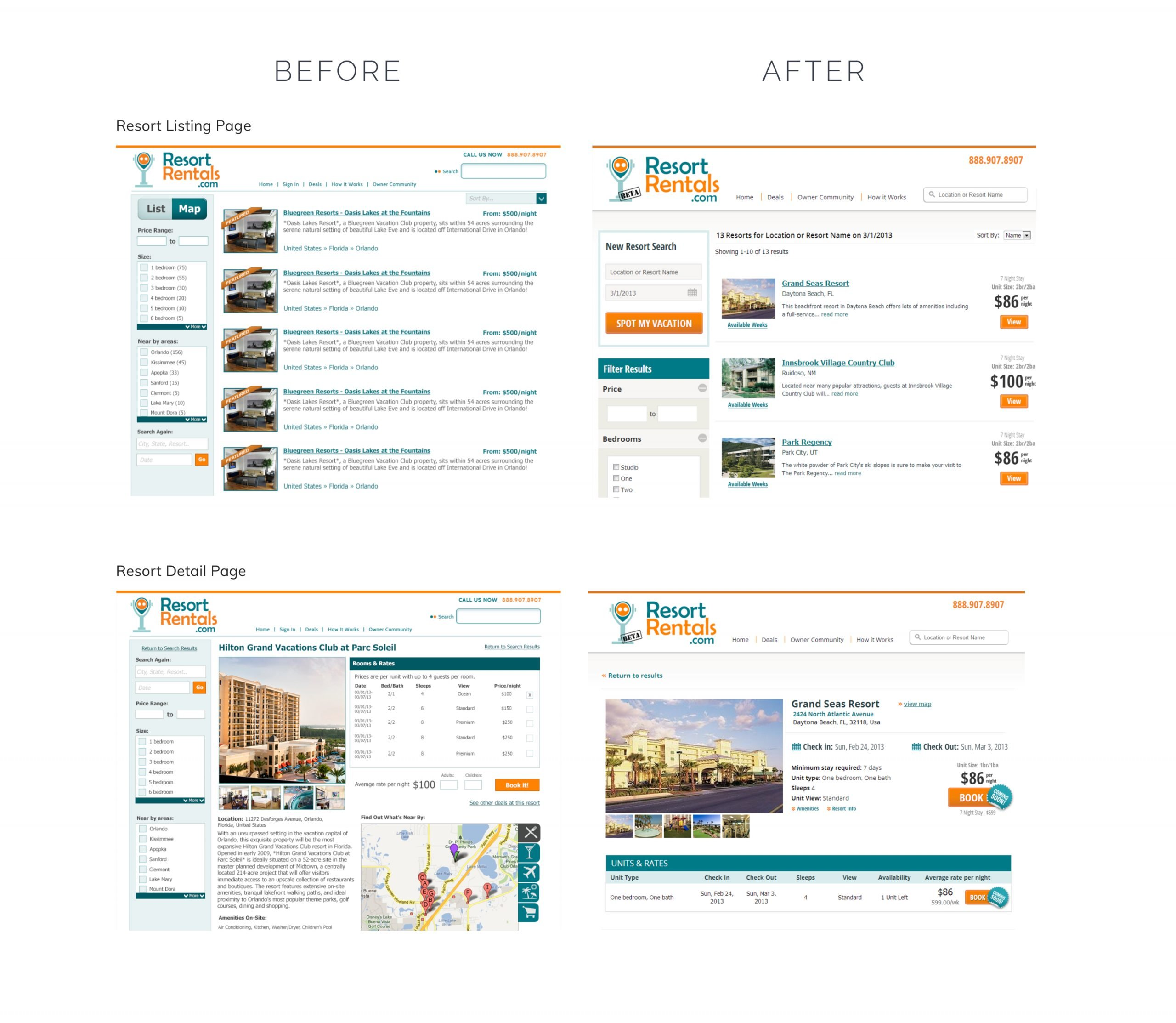 Travel Booking site Redesign Before and After