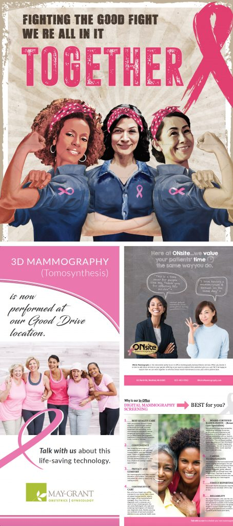 On Site Mammography graphic design pieces