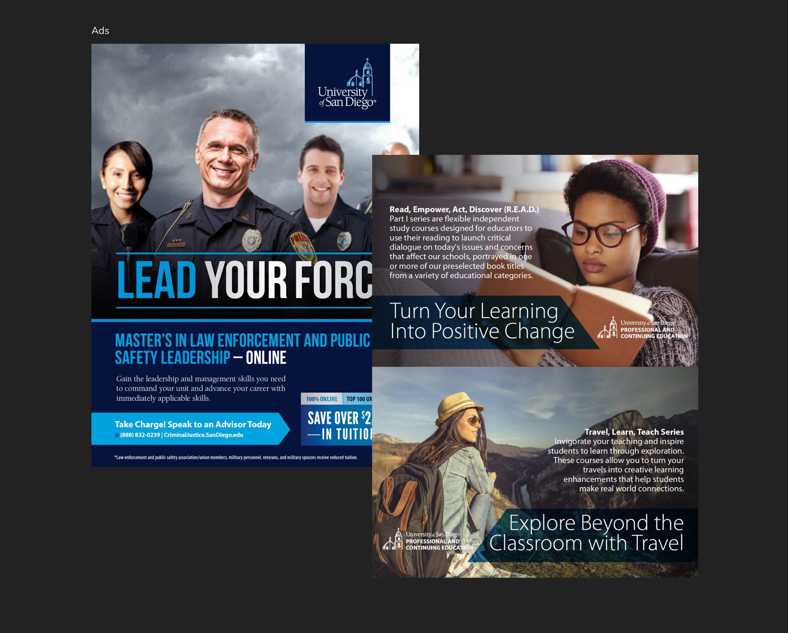 University of San Diego Digital Brochure Ads