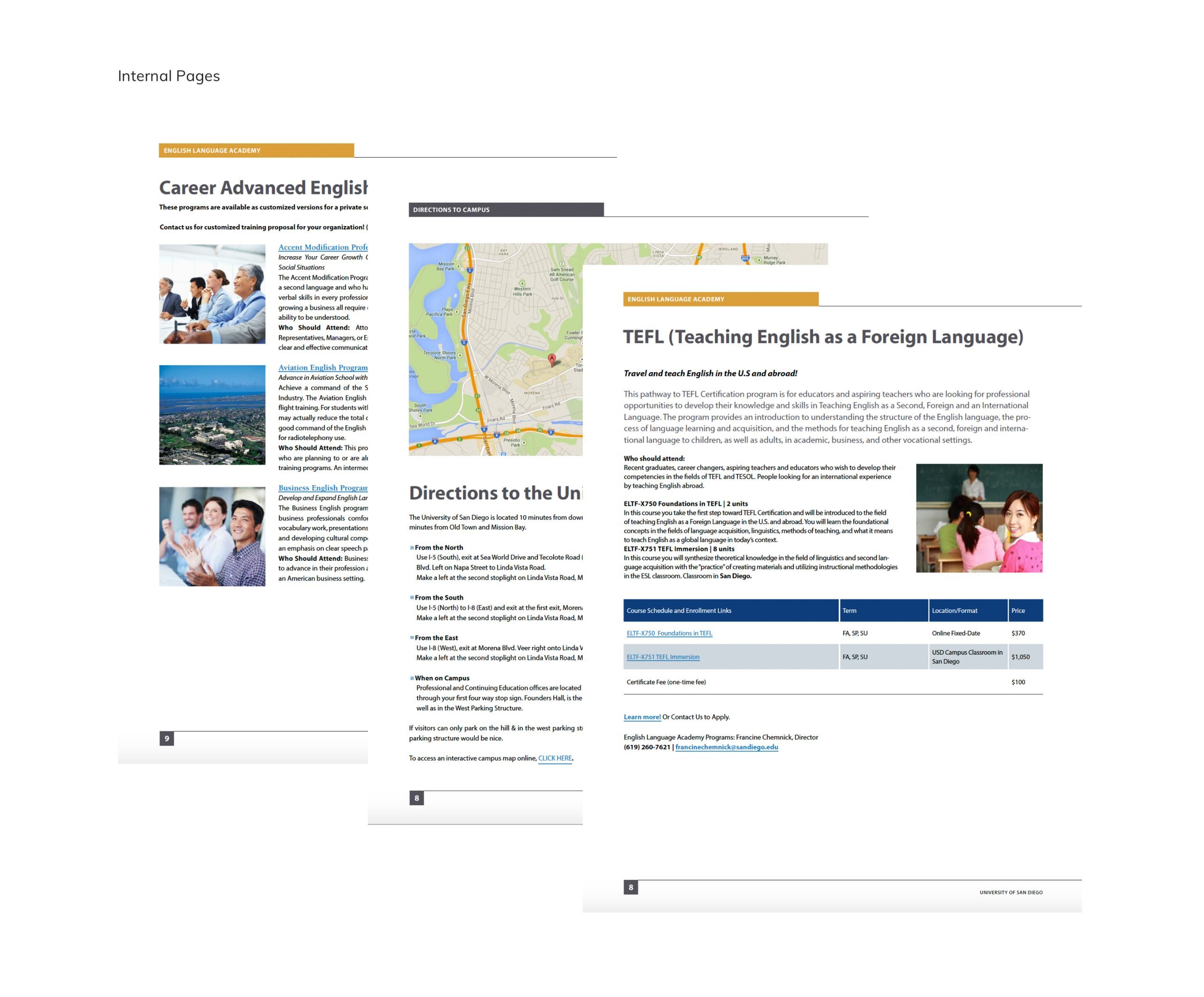University of San Diego Digital Brochure Internal Pages