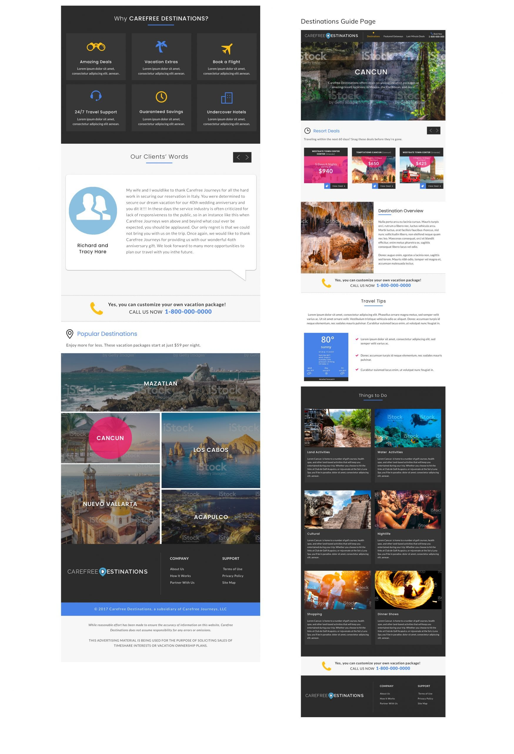 Carefree Destinations Home and Destination Guide Pages