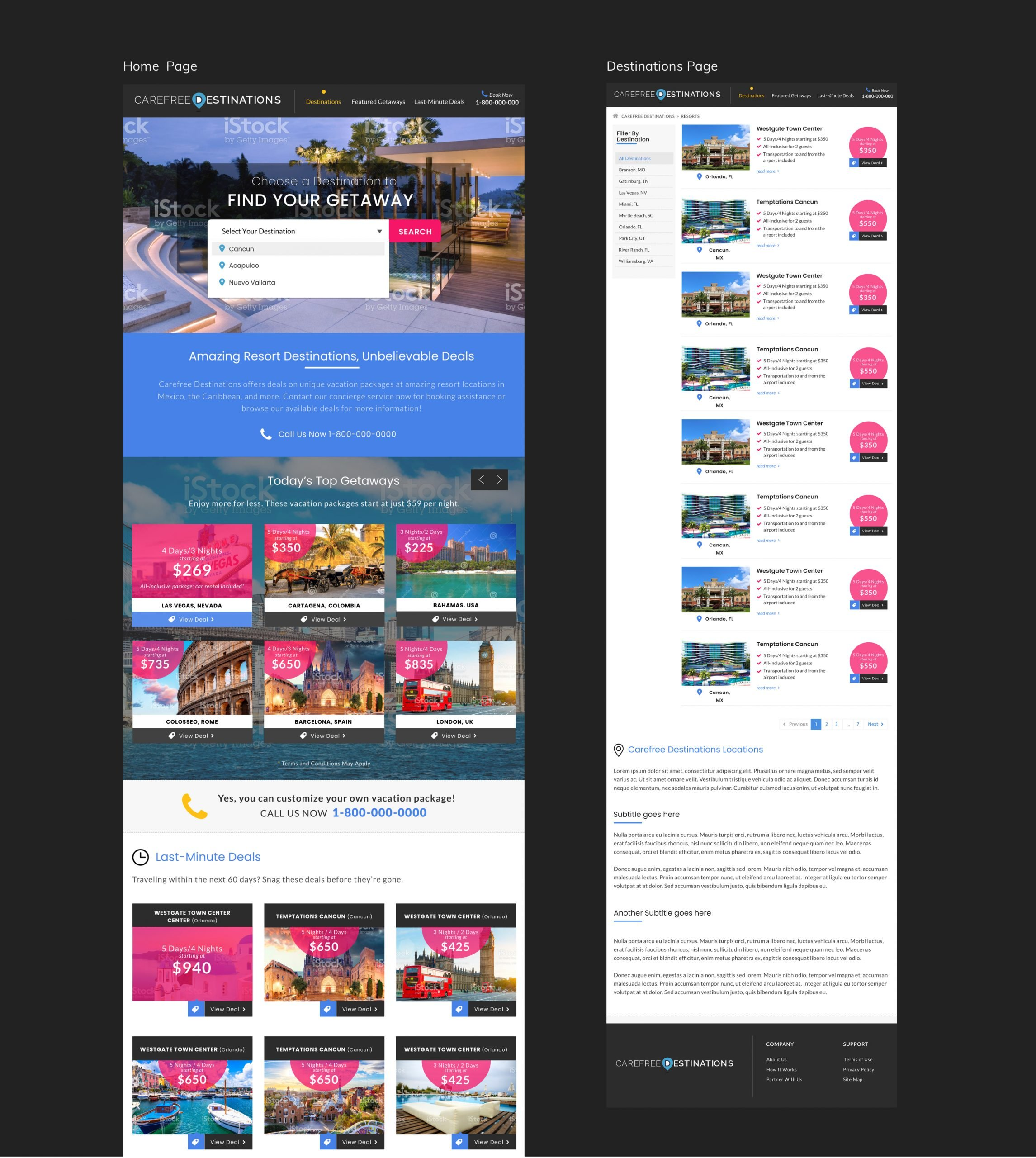 Carefree Destinations Home and Destinations Pages